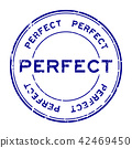 Grunge blue perfect round rubber seal stamp 42469450