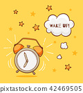 Alarm clock with wake up sign 42469505