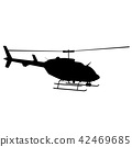 Black silhouette of helicopter on white background 42469685