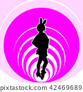 Bunny girl silhouette on pink background 42469689