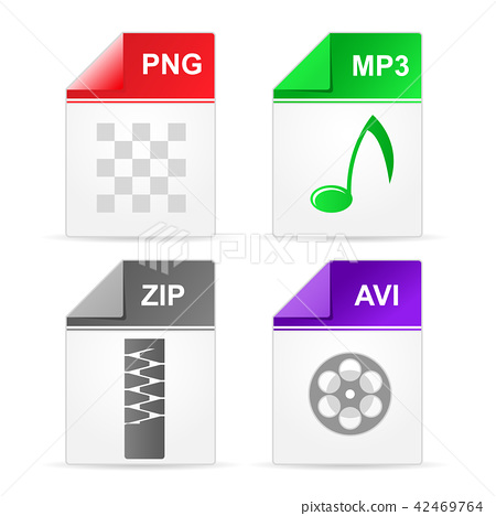 Filetype format icons - zip, png, mp3, avi 42469764