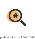 Magnifying glass looking for a house web icon 42470246