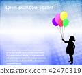 little girl holding balloons over abst. background 42470319