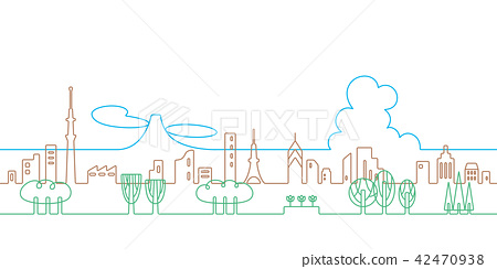 City line drawing Tokyo 42470938