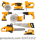 Flat vector set of construction tools. Different saws, jack plane, hammer drill and sanding machine 42472352