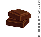 Two pieces of dark chocolate vector Illustration on a white background 42472384