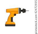 Flat vector icon of orange cordless drill. Power tool for home repair or construction. Element for 42472935