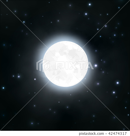 Moon, night sky, stars, vector illustration 42474317