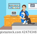 Veterinarian doctor holds dog on examination table 42474346