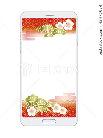 Smartphone New Year card template 42475024