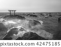 photo of Japanese shrine gate on the rock 42475185