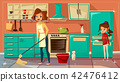 cartoon mother daughter cleaning together 42476412