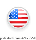 American flag round button on white background 42477558
