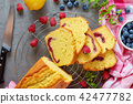 freshly baked lemon cake, top view 42477782
