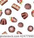 Chocolate candies, watercolor seamless pattern 1 42477990