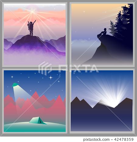 Four flat designed mountain views  42478359