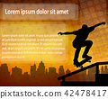 skateboarder silhouette over abstract background 42478417