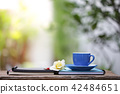 Blue cup and notebook at outdoor 42484651