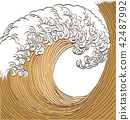 Japanese wave pattern vector. Gold hand drawn ocea 42487992
