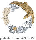 Eagle hand drawn vector. Japanese pattern wave  42488358