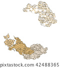 Japanese lion with pattern vector. Gold geometric  42488365
