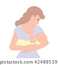 Young mother holding her child to feeding breast  42488539