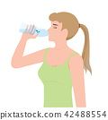 Young woman drinking water from plastic bottles. 42488554