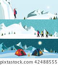 Vector flat banner set of Ice climber 42488555