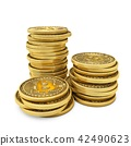 3D Rendering Bitcoins isolated on white background 42490623