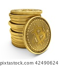 3D Rendering Bitcoins isolated on white background 42490624