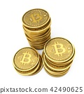 3D Rendering Bitcoins isolated on white background 42490625