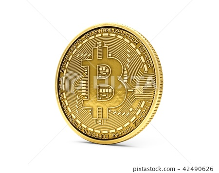3D Rendering Bitcoin isolated on white background 42490626