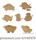 手寫的野豬圖新年賀卡動物生肖動物 42490976