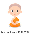 Cartoon Buddhist Monk Of Southeast Asia. 42492750