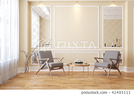Classic beige modern interior empty room with lounge armchairs