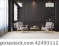 Classic black modern interior empty room with lounge armchairs 42493112