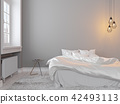 Scandinavin loft gray empty bedroom interior with bed, table and lamp. 42493113