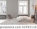 Scandinavin loft gray empty bedroom interior with armchair, bed and lamp. 42493116