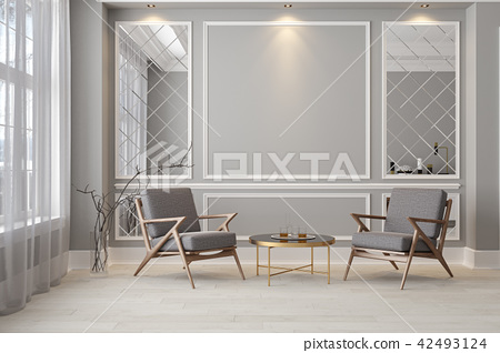 Classic gray modern interior empty room with lounge armchairs 42493124
