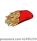 isolate on white background. French fries serving 42495259