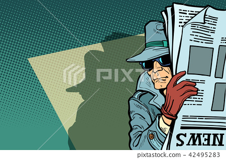 Spy detective in hat and sunglasses, newspaper 42495283