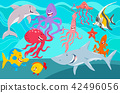 sea life animals cartoon characters group 42496056