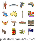 Country Australia cartoon icons in set collection for design.Travel and attractions vector symbol 42496521