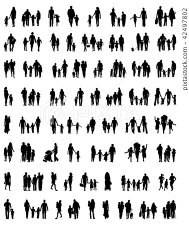 Silhouettes of families at walking 42497802