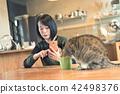 고양이, 여자, 여성 42498376