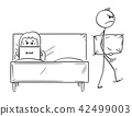Cartoon of Couple, Man Was Rejected by Woman and is Leaving Bed With Pillow 42499003