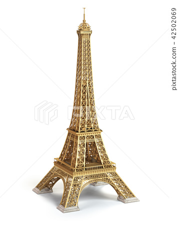 Eiffel Tower golden isolated on a white background 42502069
