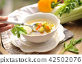 vegetable soup, summer food with vitamins. Copy space 42502076