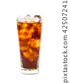 Drink cola with ice in glass on white background 42507241