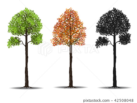 red, green and silhouettes tree 42508048